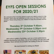 Great Linford Primary School EYFS Open SEssions for 2020/21