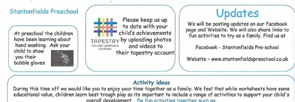 Activity ideas at home